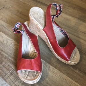 Red Slingback wedge Sandals